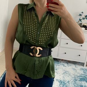 Elizabeth and James studded silk top